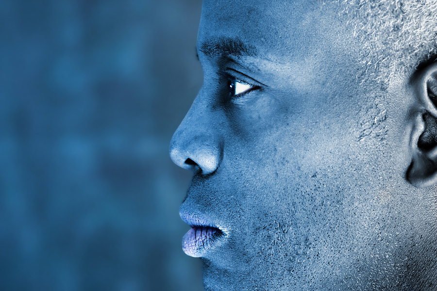 Profile portrait with blue toning effect