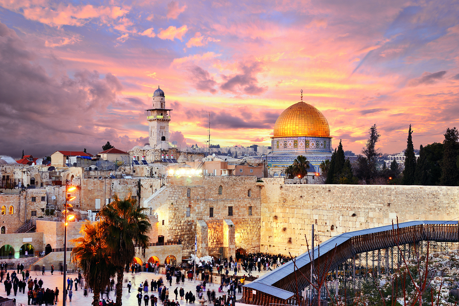 Skyline of the Old City at he Western Wall and Temple Mount in J